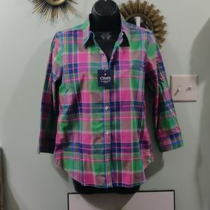 CHAPS Pink plaid non iron button up blouse